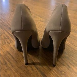 Taupe Round Toe Pumps